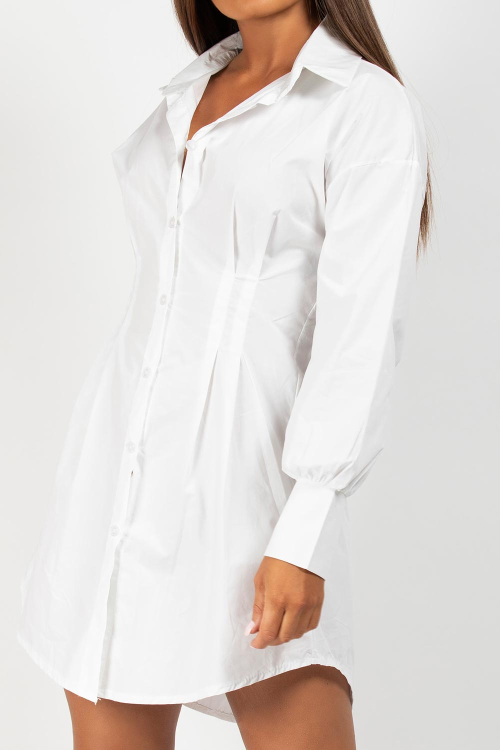 white cinched waist shirt dress