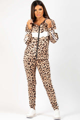 Zip Front Leopard Print Loungewear Co Ord Set