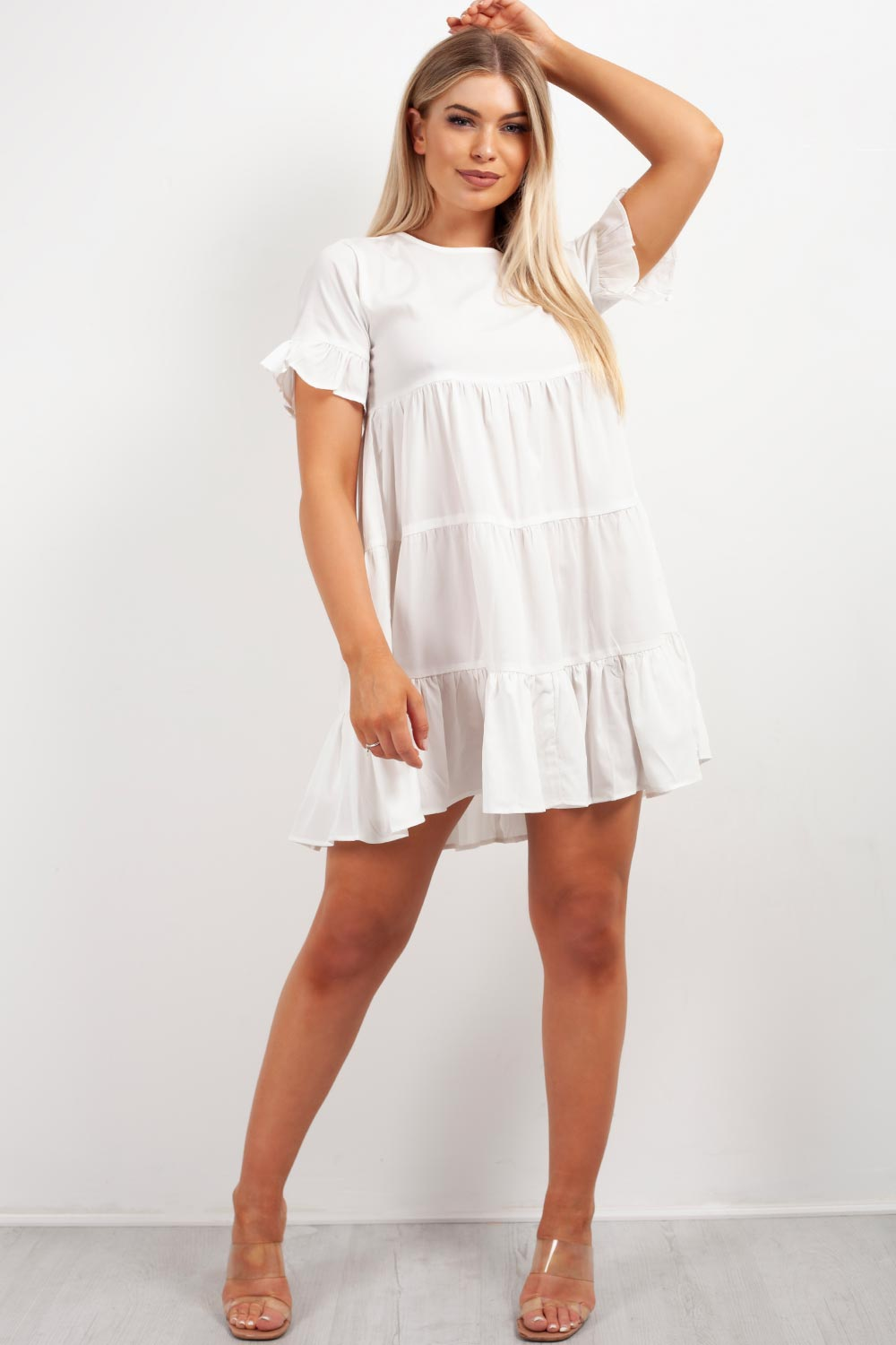 tiered white smock dress