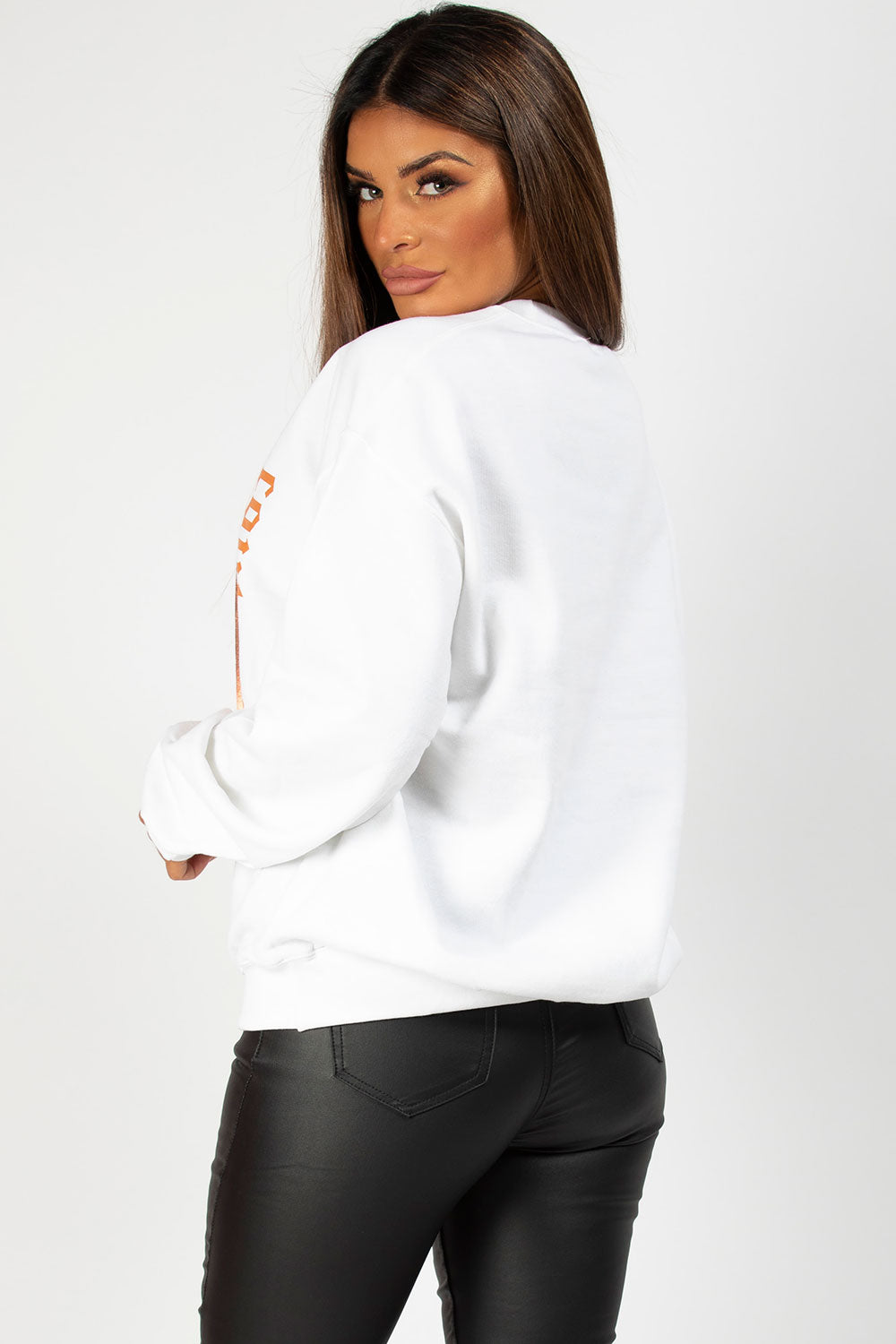 white sweatshirt with couture graphic slogan