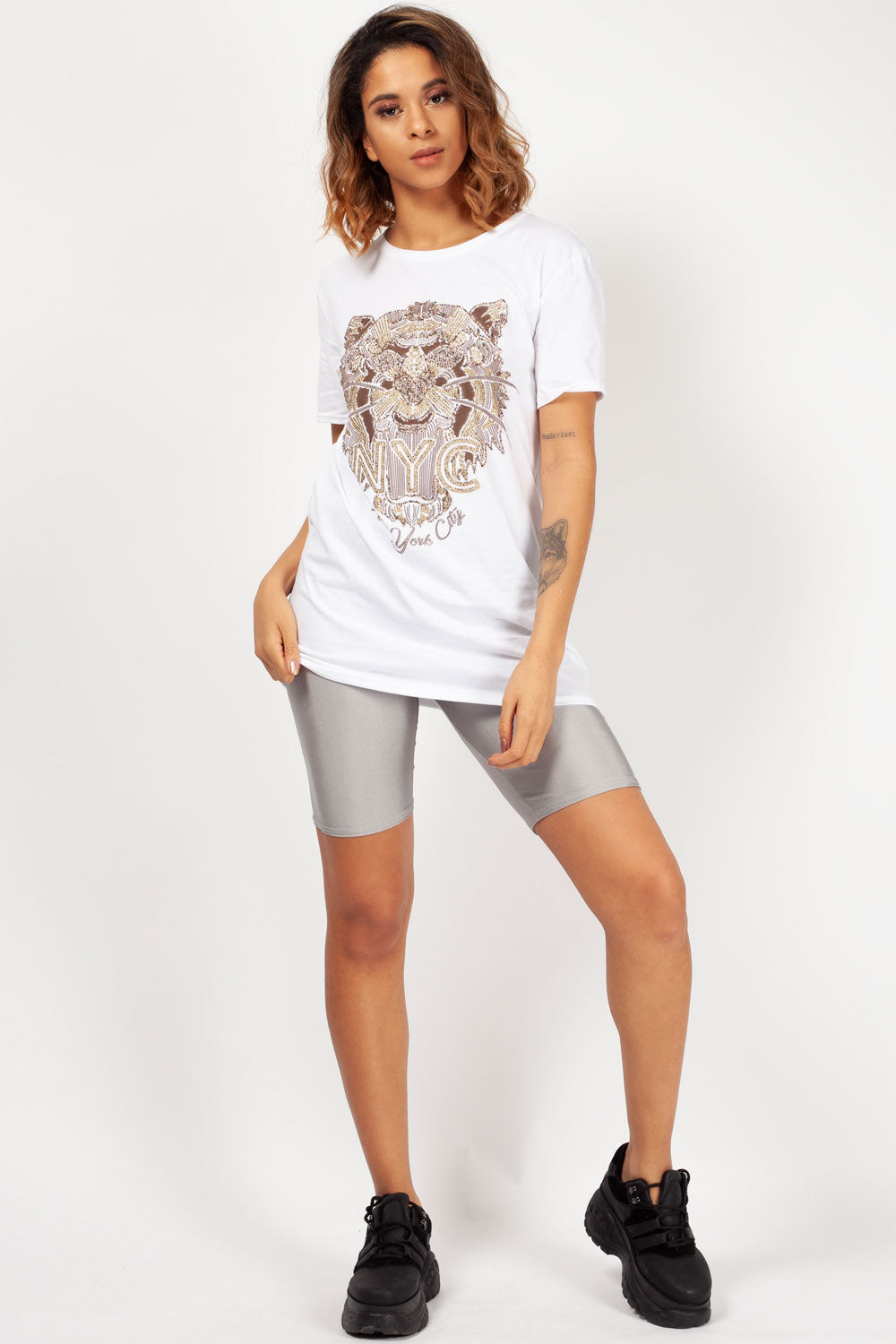 tiger print white t shirt womens