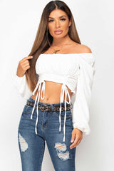 white long sleeve ruched front top