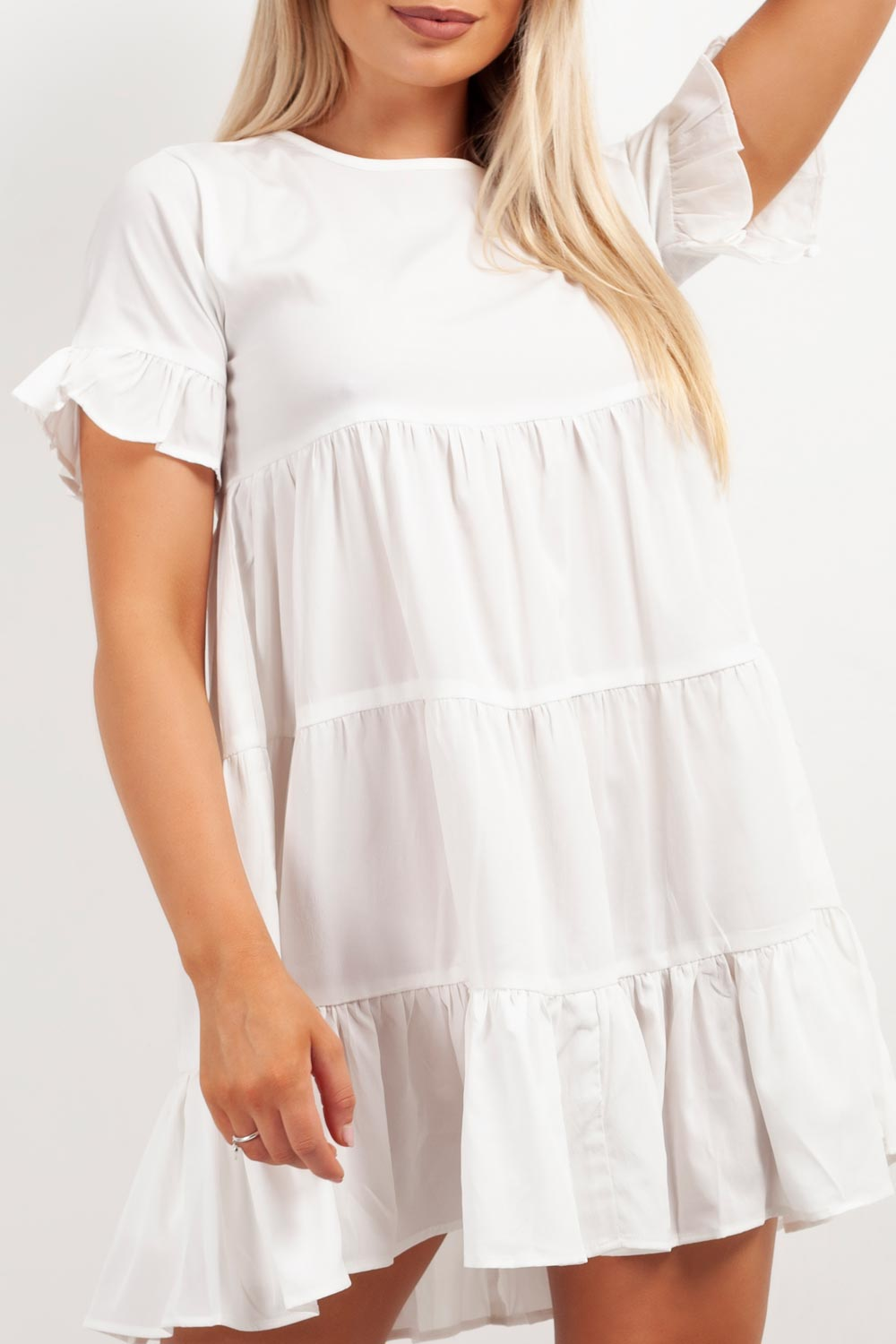 white smock dress tiered