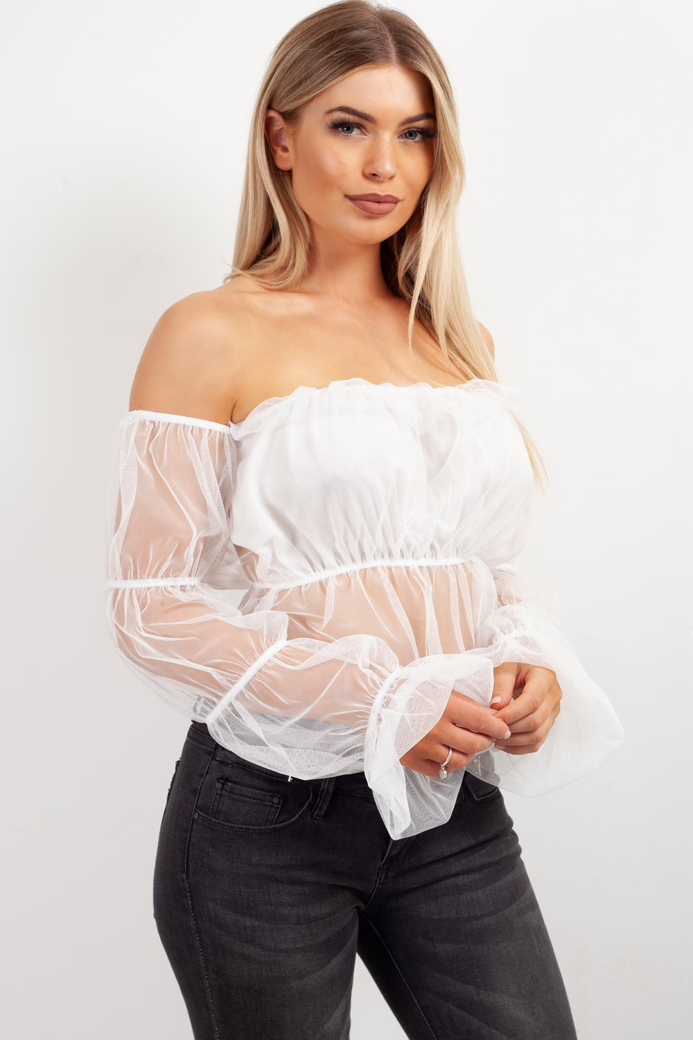 white tulle mesh crop top