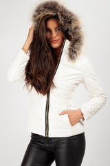 faux fur hood coat white