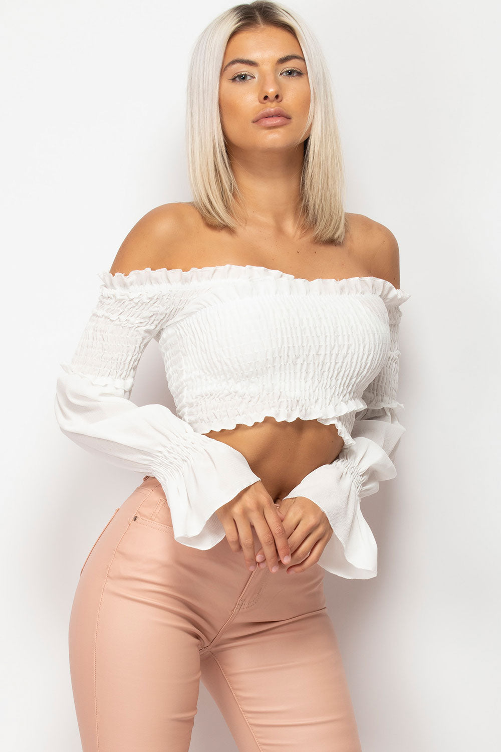 off shoulder long sleeve crop top white