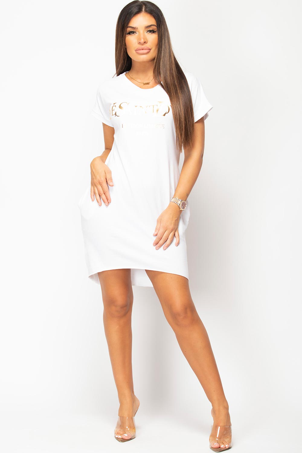 white shirt dress with ye saint love slogan