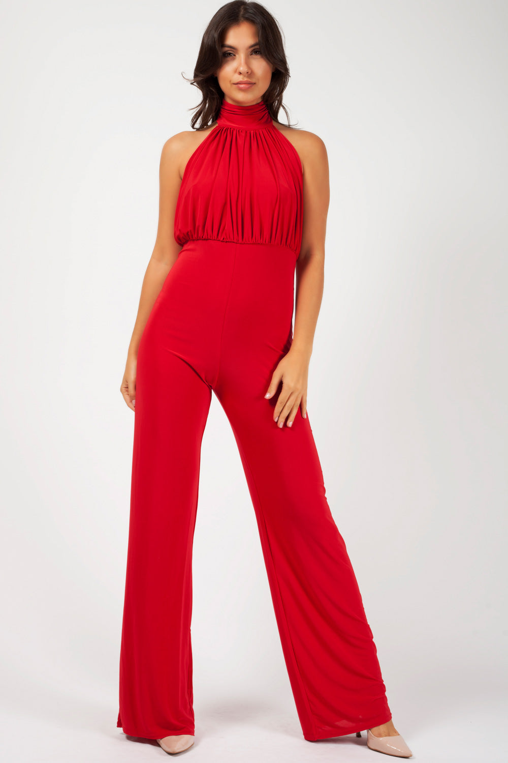 high neck wide leg jumpsuit red