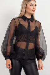 black sheer balloon sleeve shirt