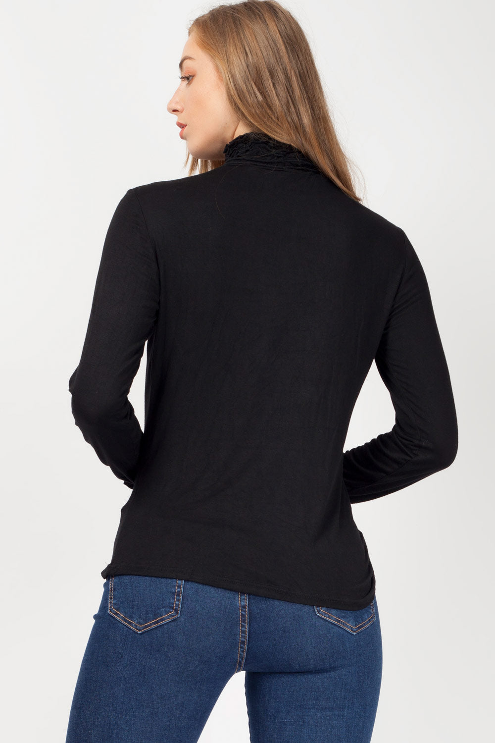 frill neck long sleeve top black uk