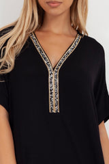 womens black oversized top dress
