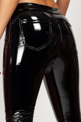 black wetlook trousers womens styledup fashion