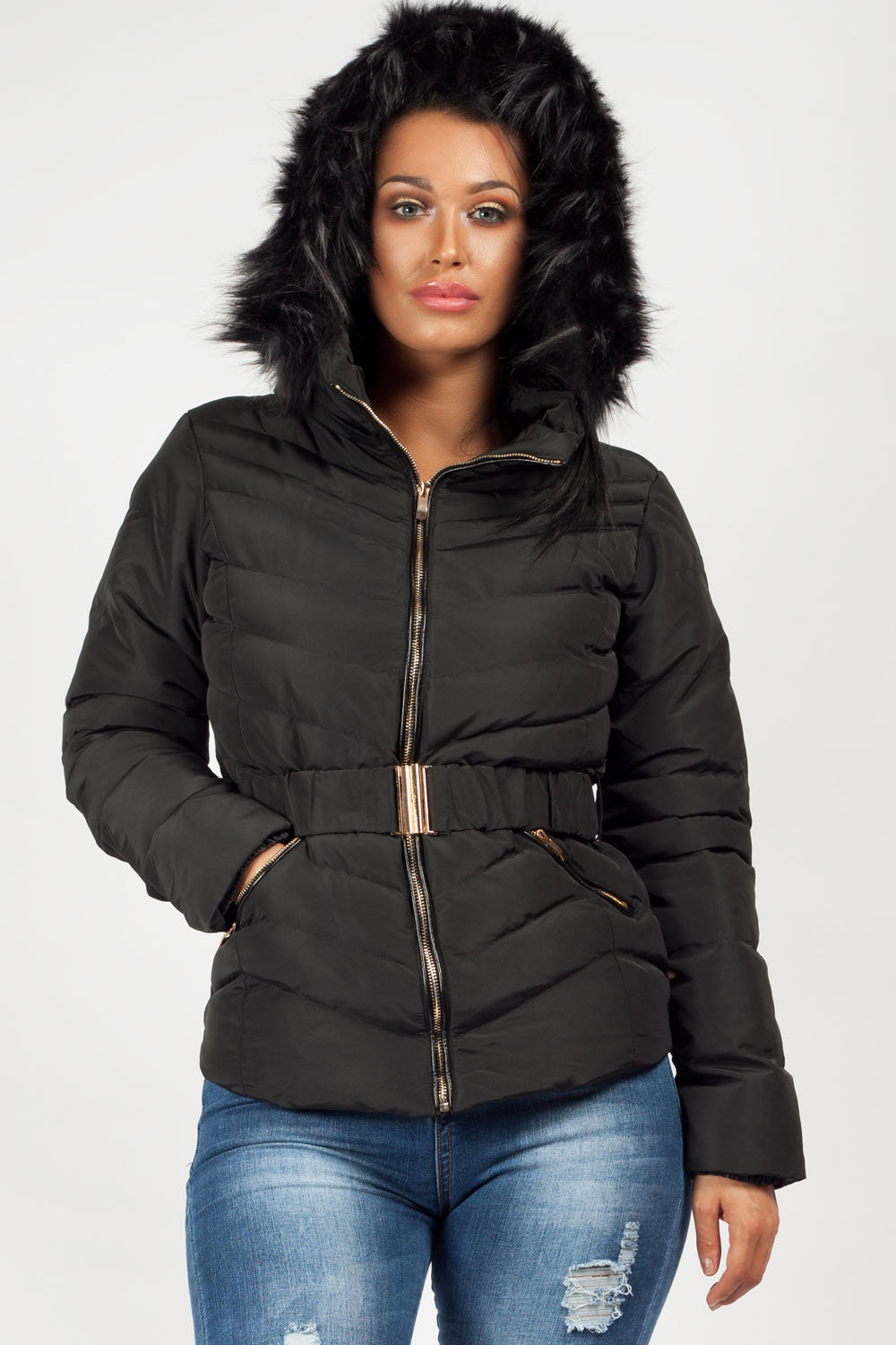 womens puffer zara jacket black