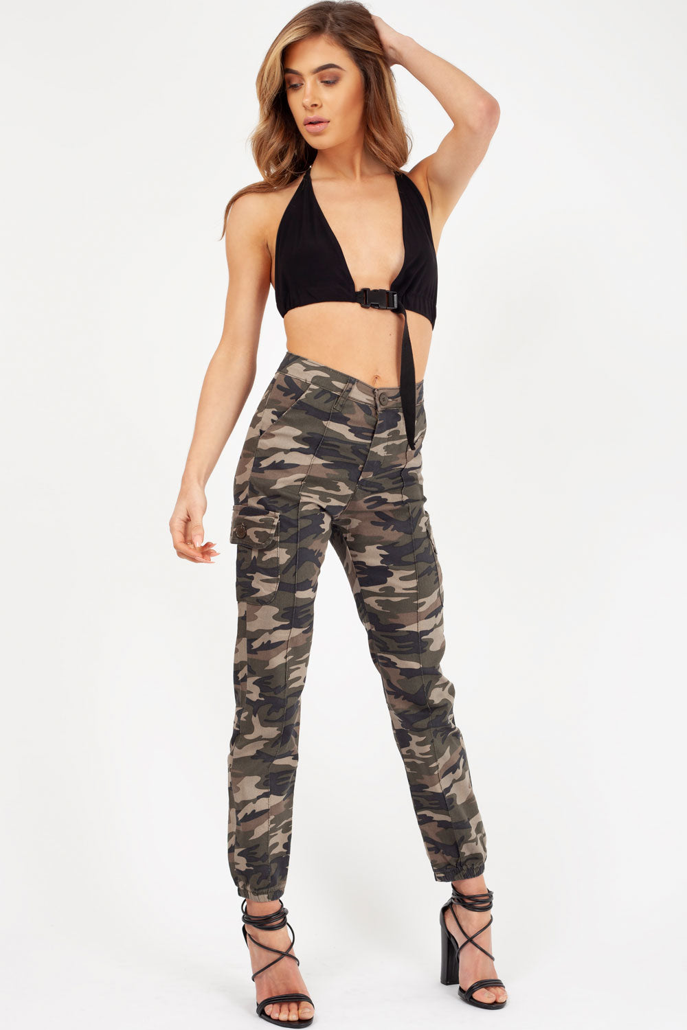 womens khaki camo cargo trousers styledup fashion