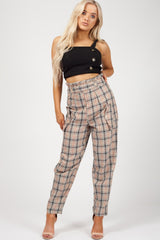check high waisted trousers womens