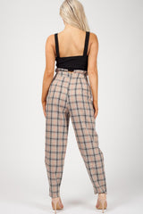 womens high waist checkered trousers