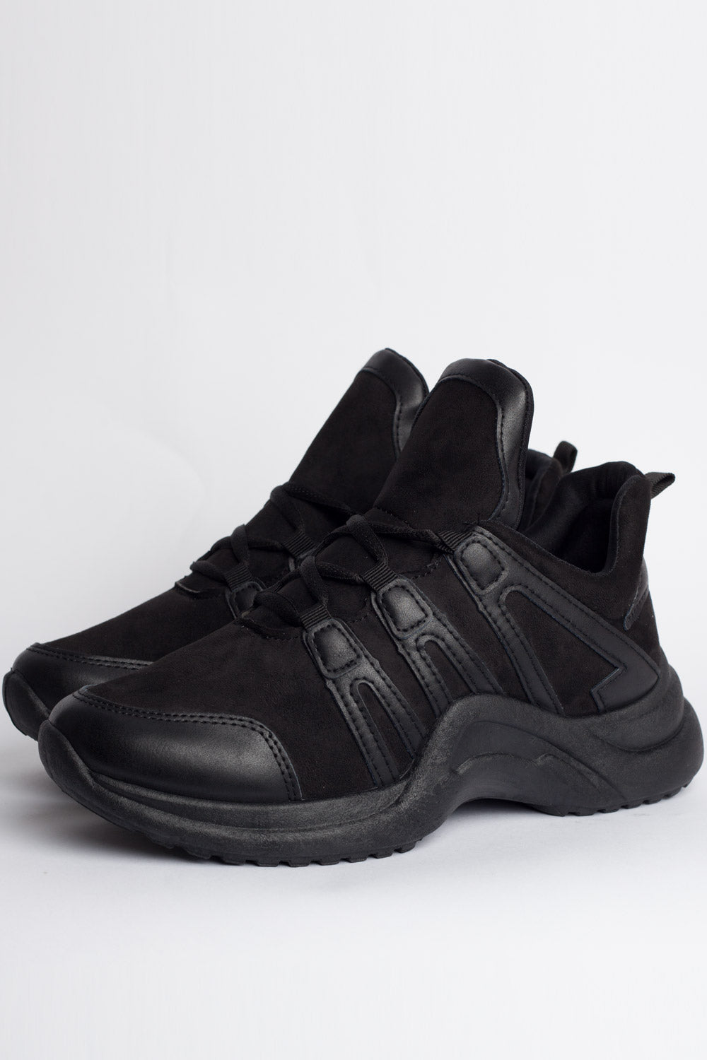 chunky sole trainers black