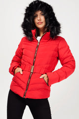 big fur hood padded coat red womens uk
