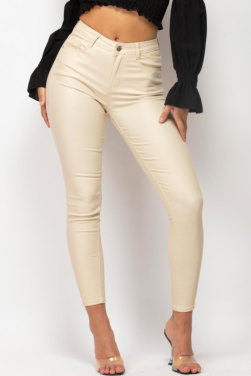 beige high waisted coated denim jeans womens