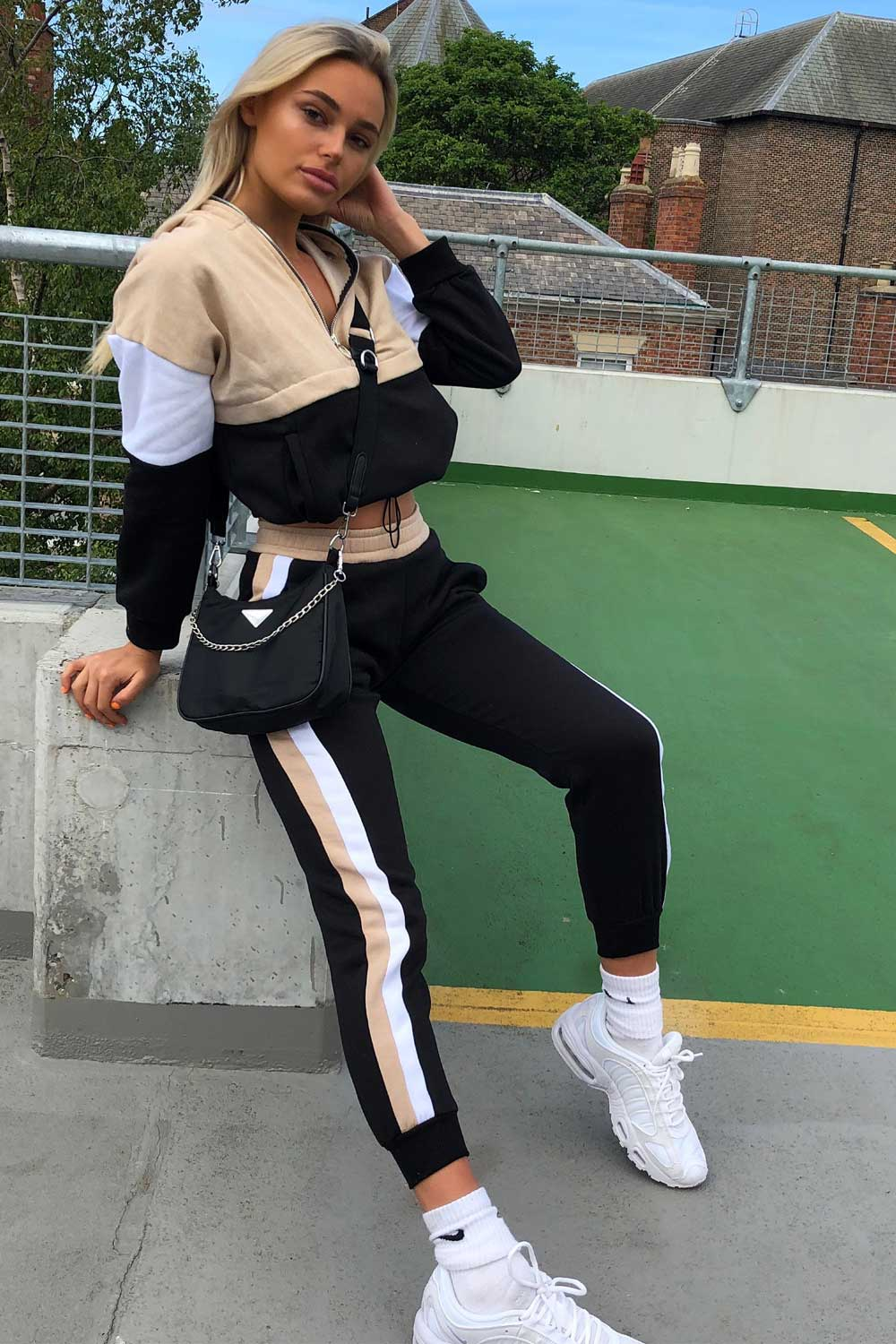 womens colour block tracksuit set