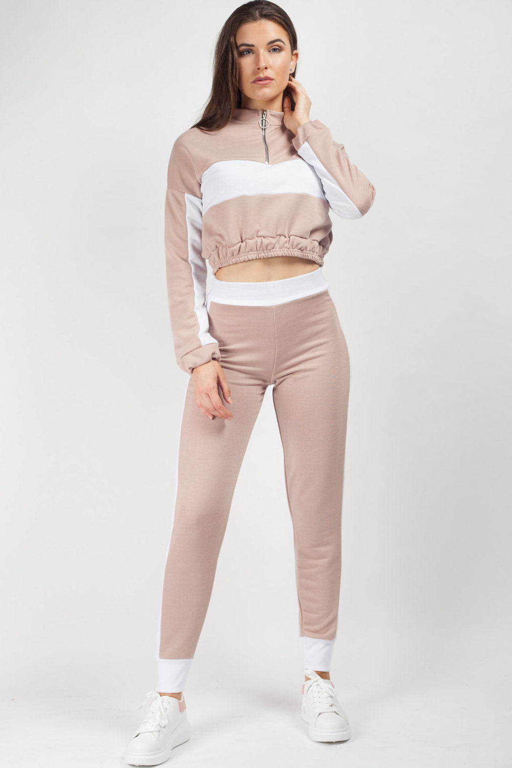 zip front tracksuit top and joggers set womens