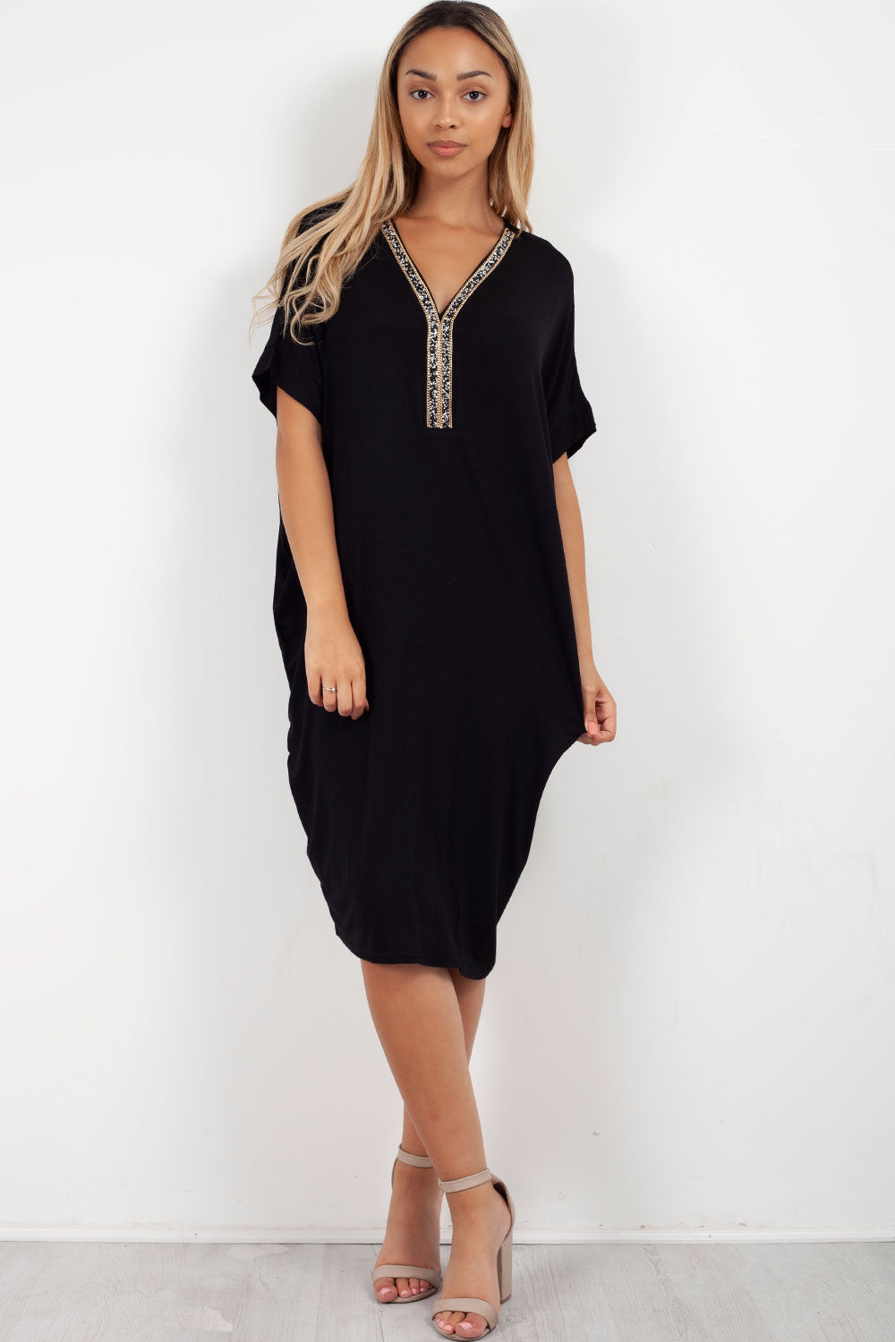 diamante oversized top black