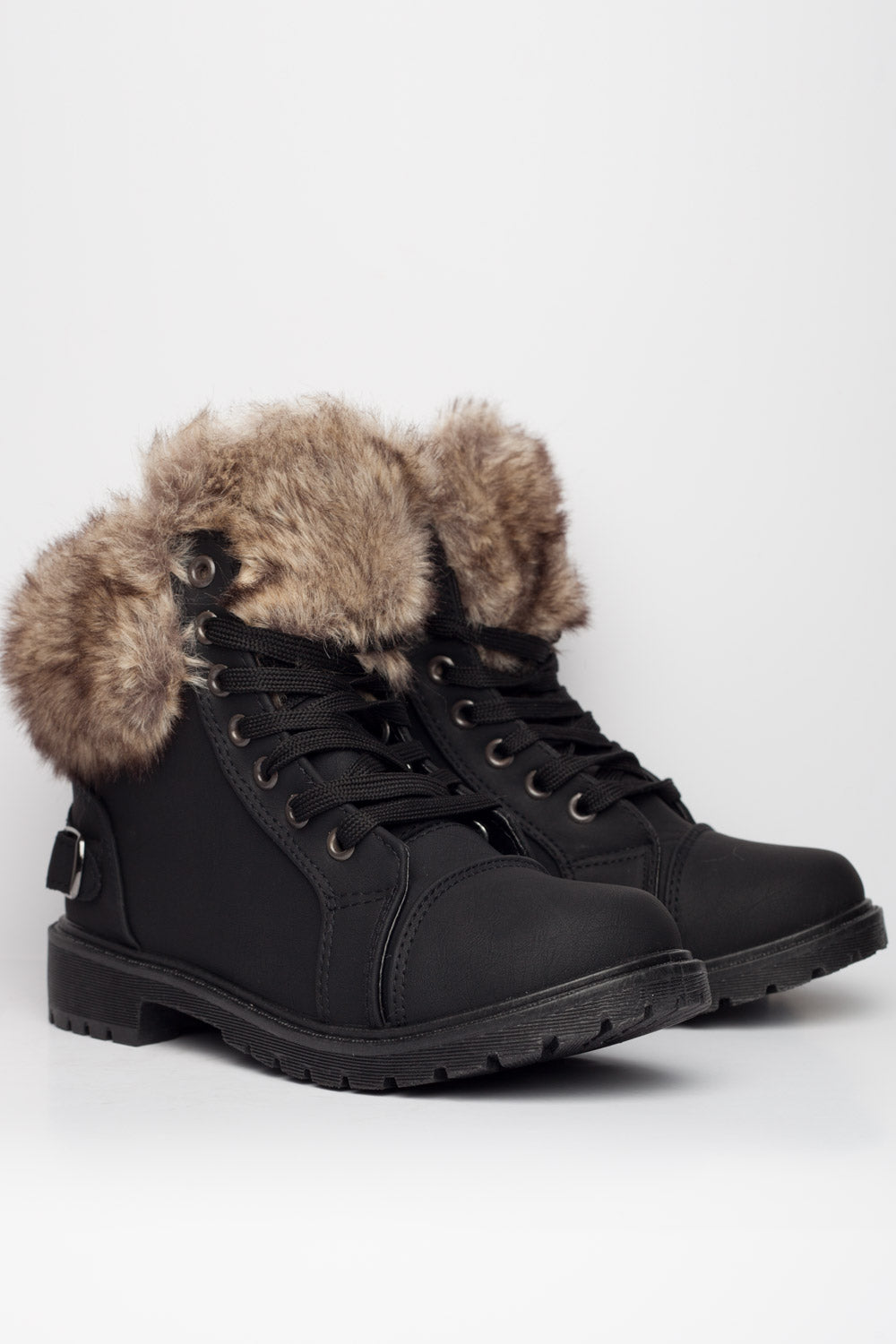 quality arriving low priced Faux Fur Lined Ankle Boots Black