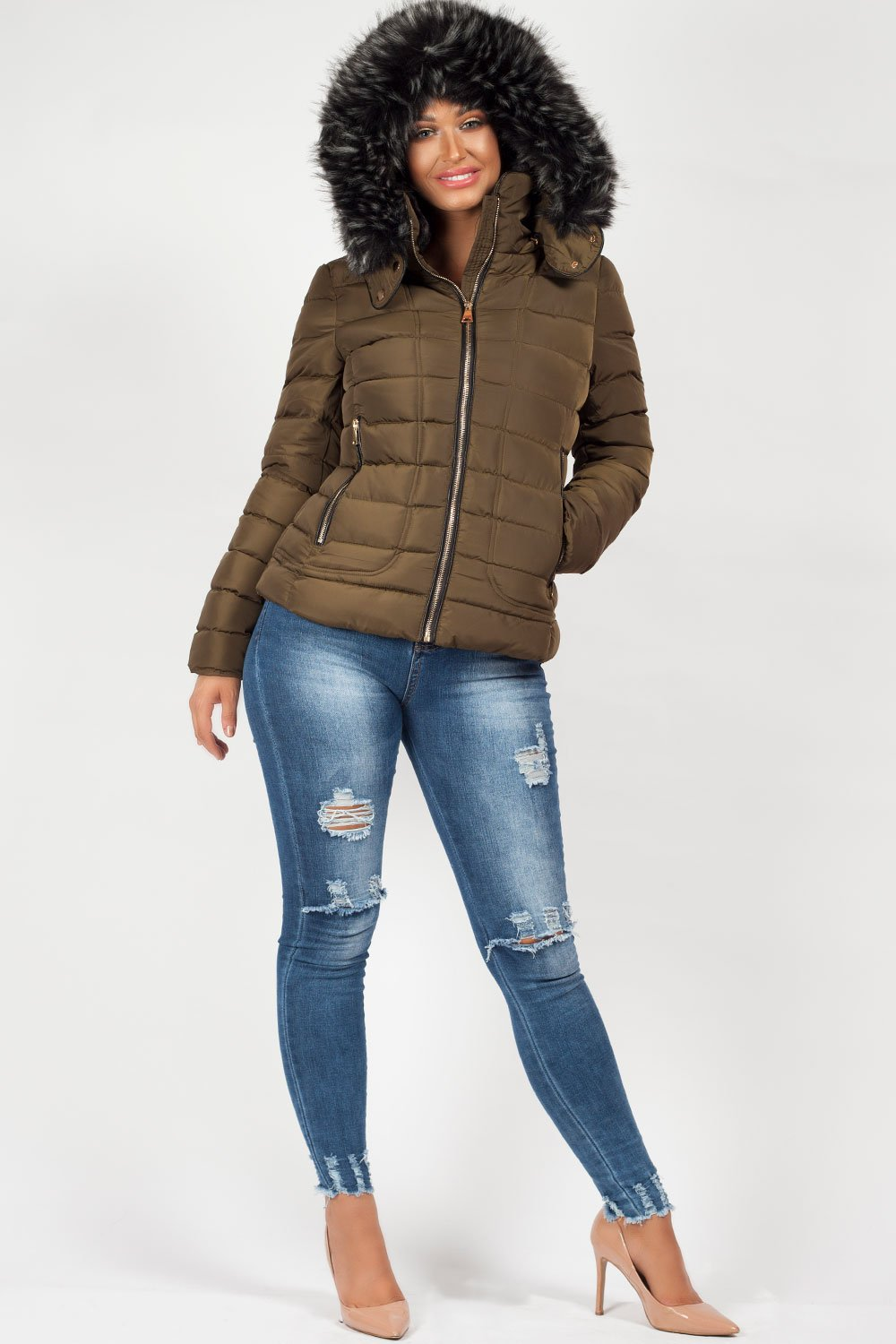 567193f87 Khaki Faux Fur Hooded Puffer Coat – Styledup.co.uk