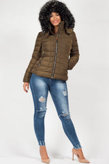 khaki zara puffer jacket with faux fur hood womens