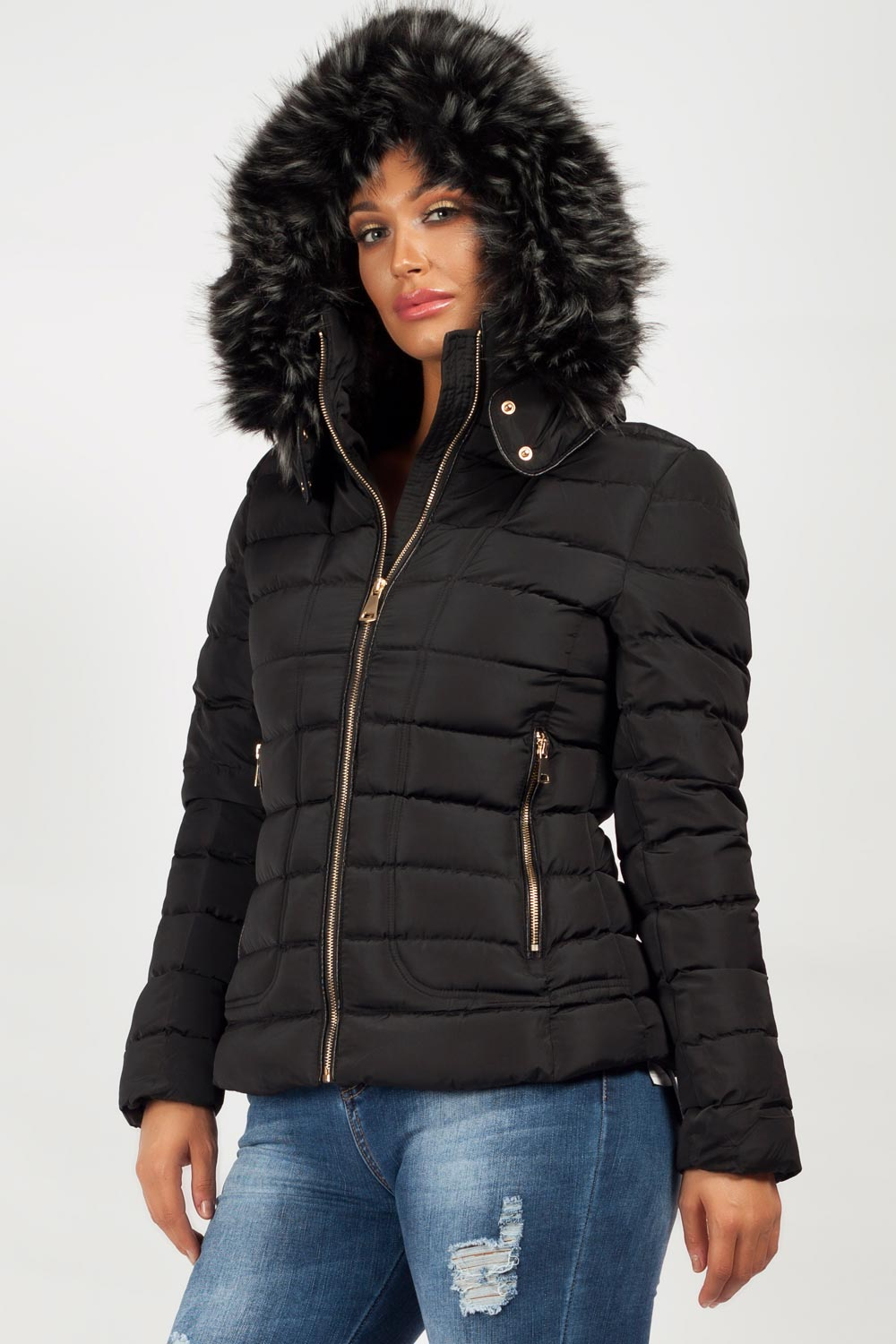 Womens Puffer Coat With Chunky Faux Fur Hood Styledup Co Uk