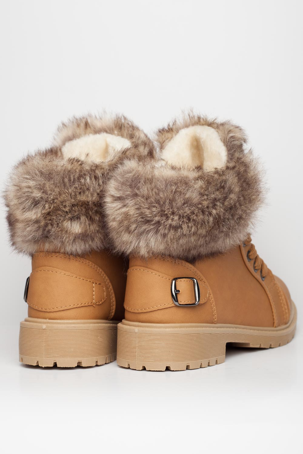 Womens Faux Fur Lined Boots Camel