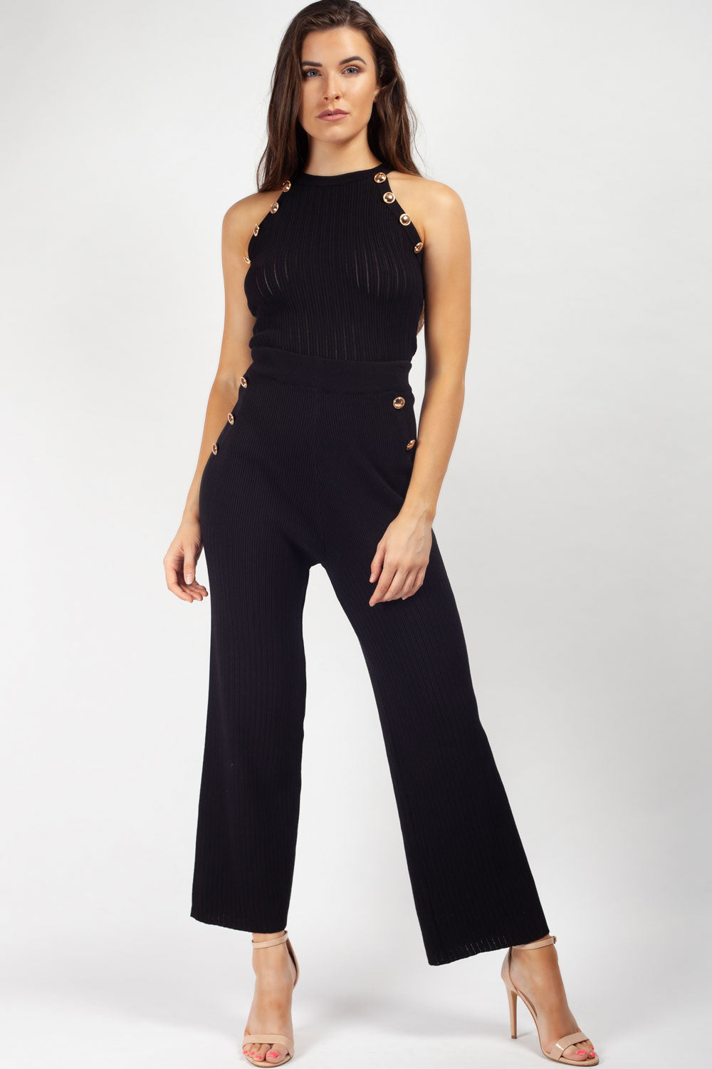 black ribbed knit loungewear