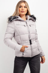 grey padded coat with fur hood