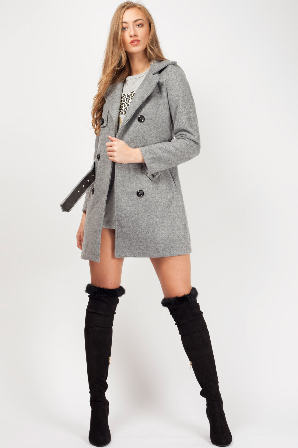 grey duster coat with belt womens