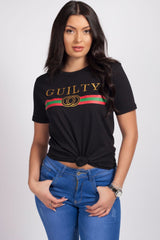 Black guilty slogan t shitrt