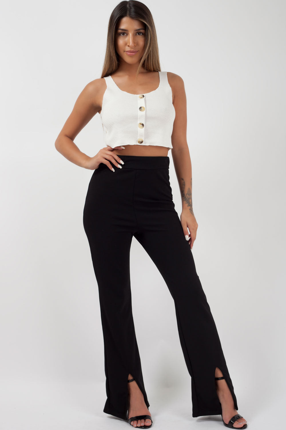 black split hem trousers styledup fashion