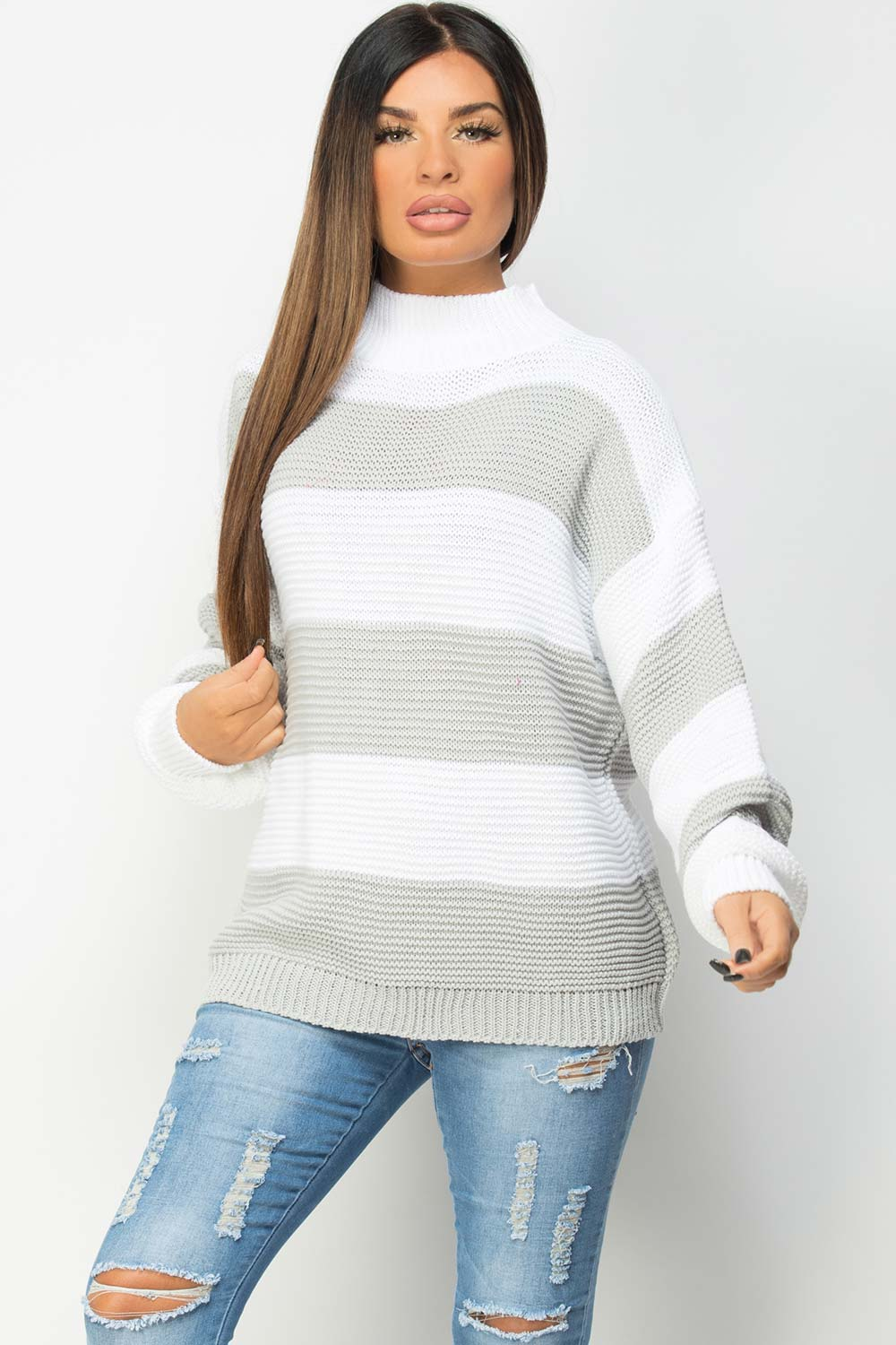 oversized jumper with grey stripes womens
