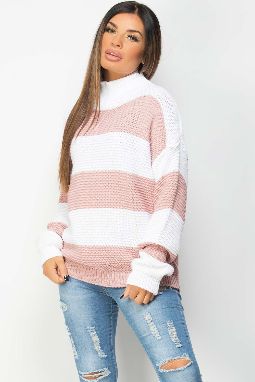 oversized jumper with pink stripes