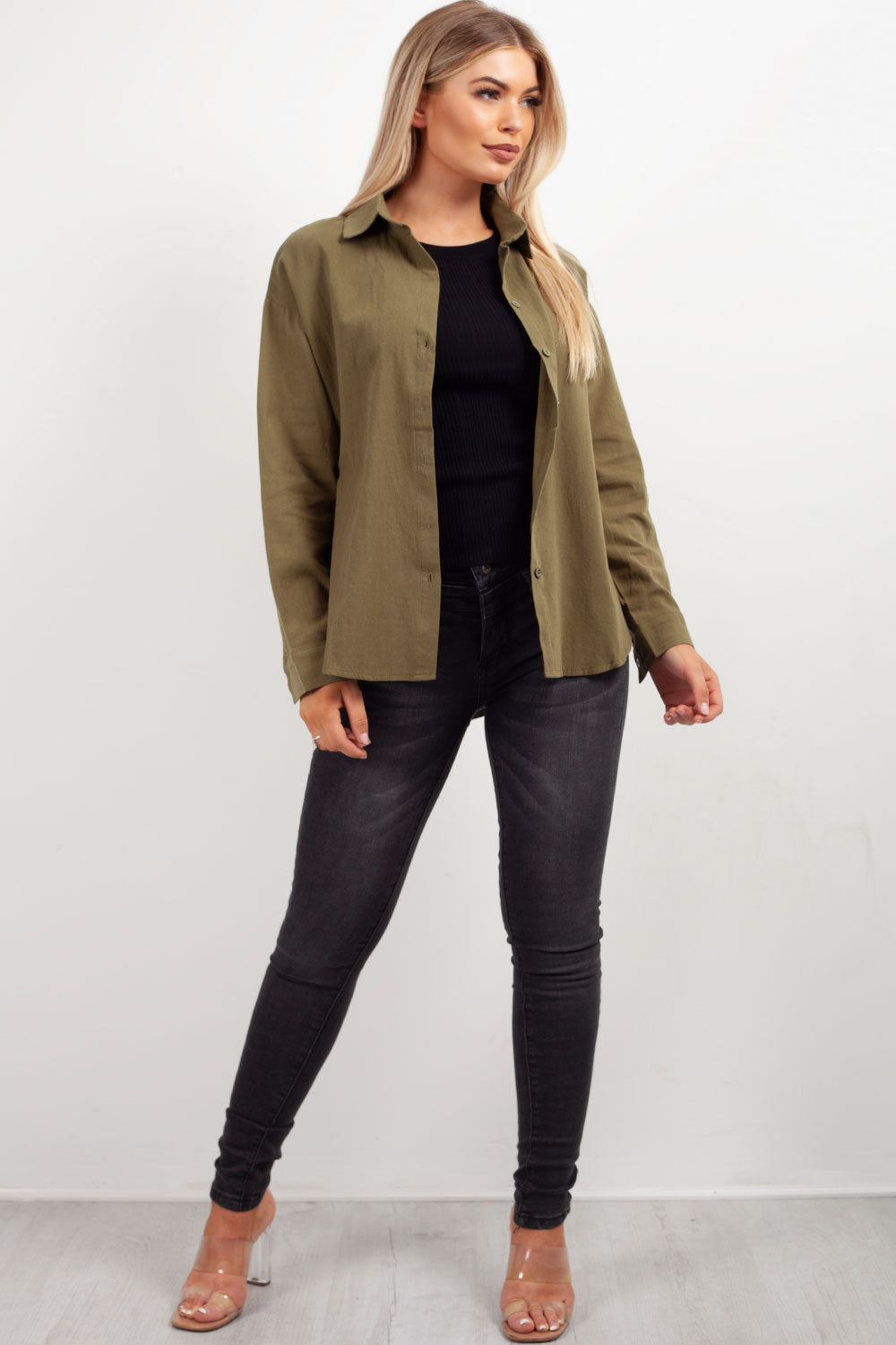 womens khaki denim oversized shirt