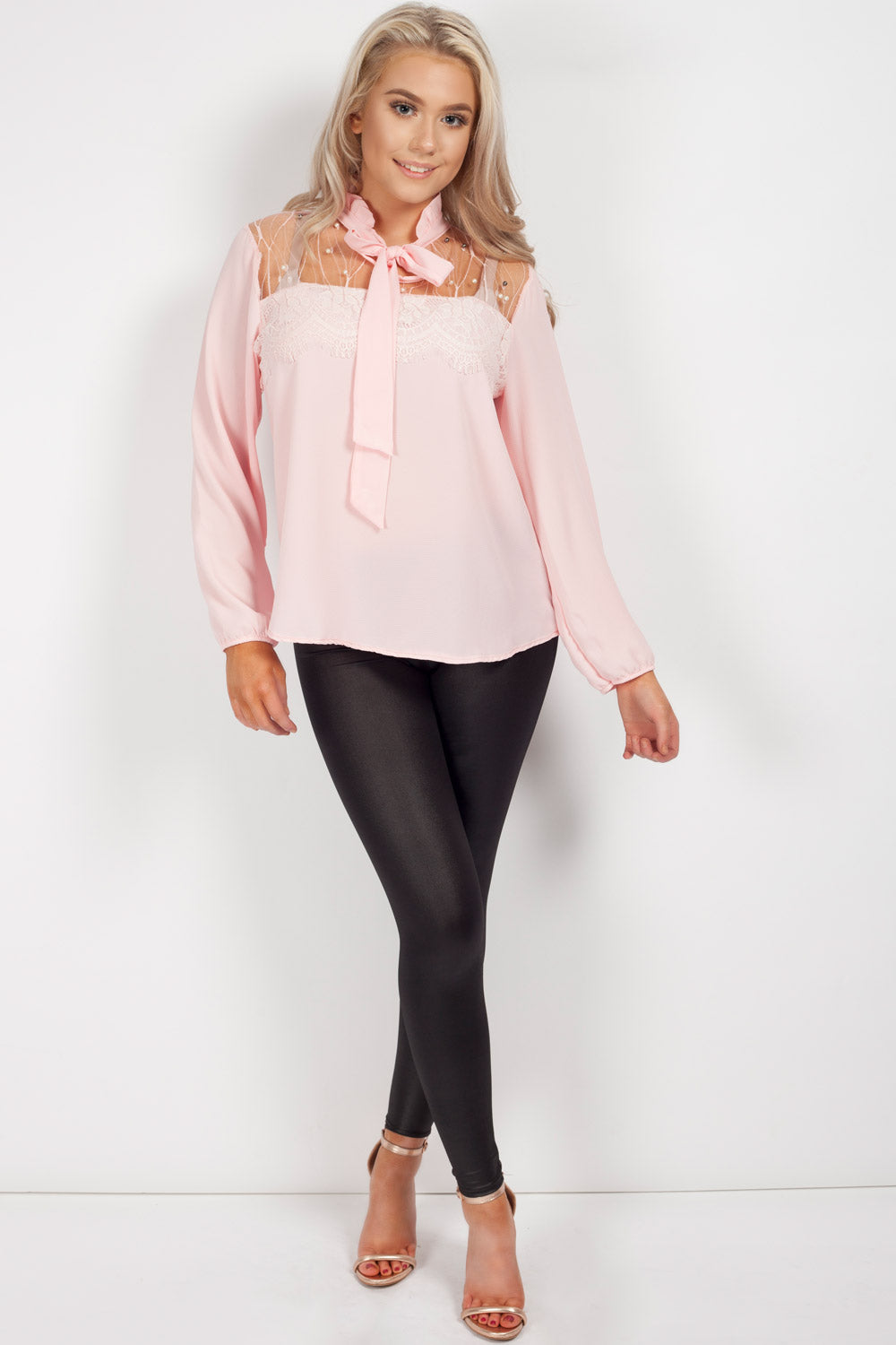 pink long sleeve going out top womens