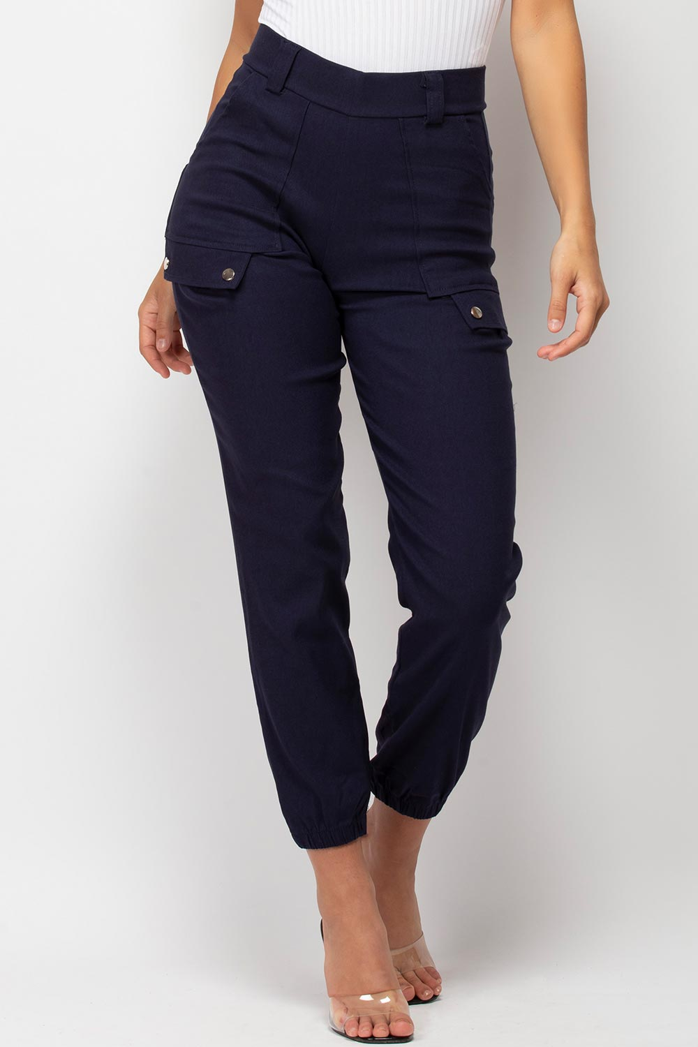 high waisted navy cargo trousers