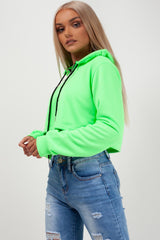 neon green drawstring waist zip front crop hoodie styledup fashion