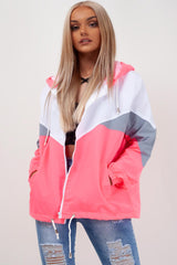 neon pink hooded jacket womens