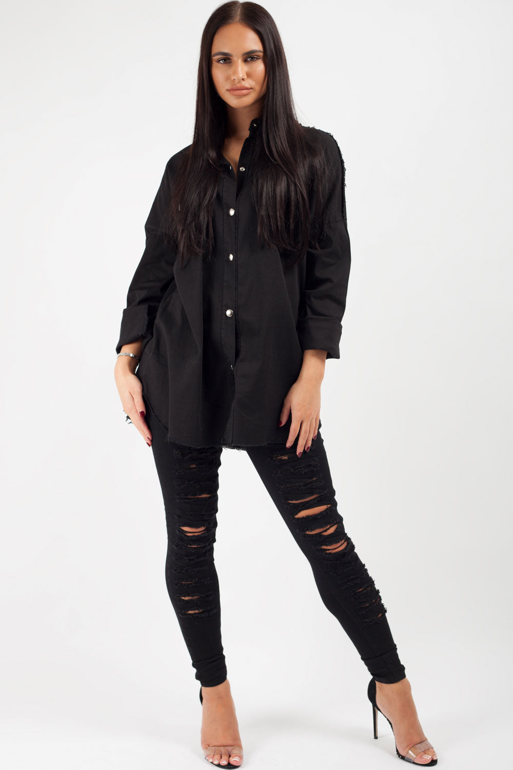 womens oversized denim shirt