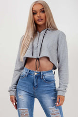 grey oversized crop hoodie womens