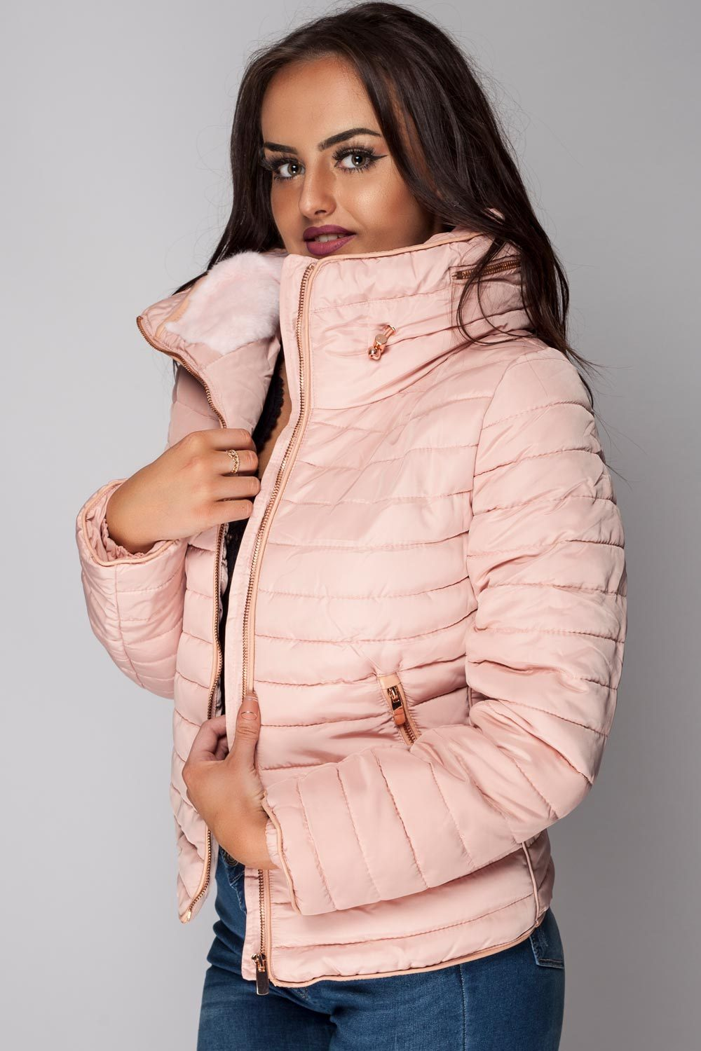 Pink Quilted Jacket With Hidden Hood Styledup Co Uk