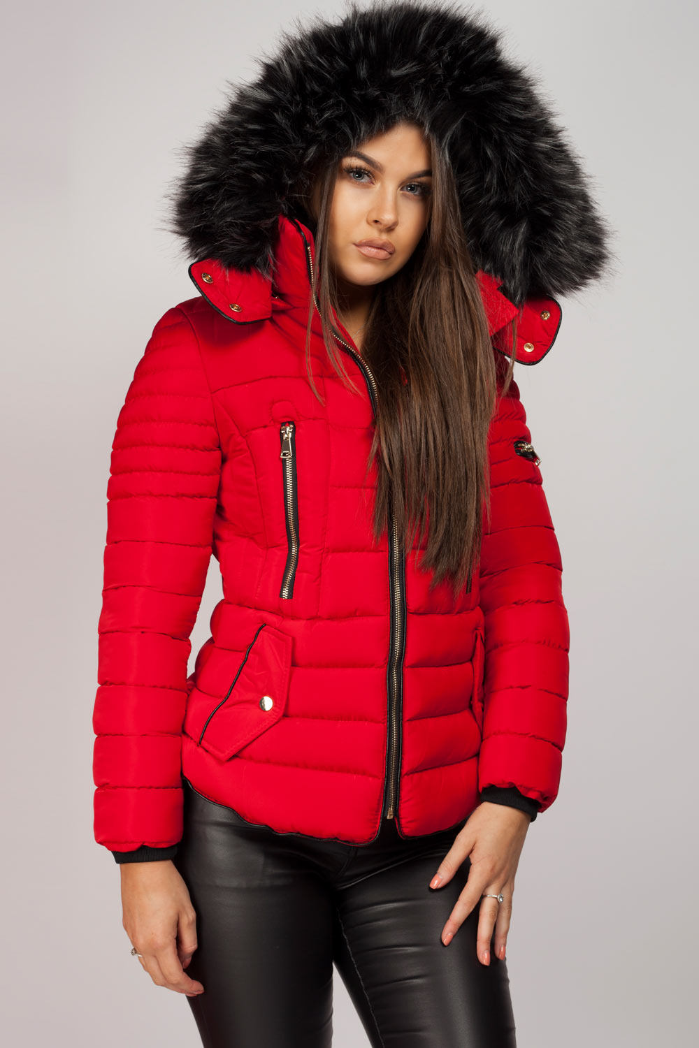 red puffer coat with fur hood