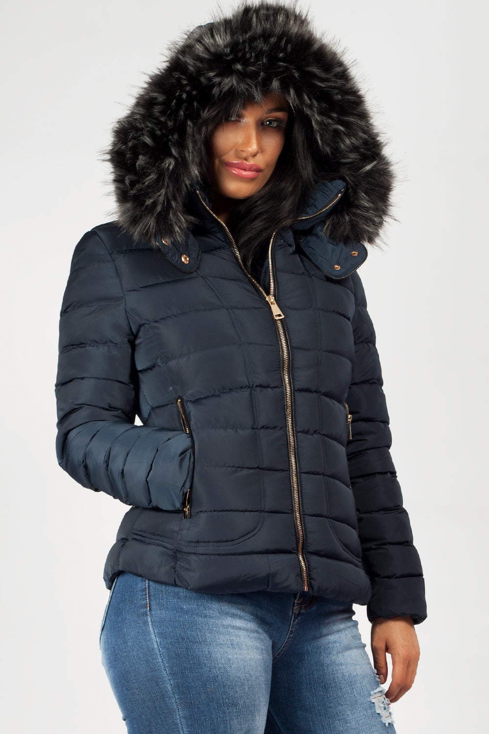 Quilted Faux Fur Hooded Coat Styledup Co Uk