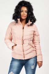 zara quilted faux fur hood coat pink uk