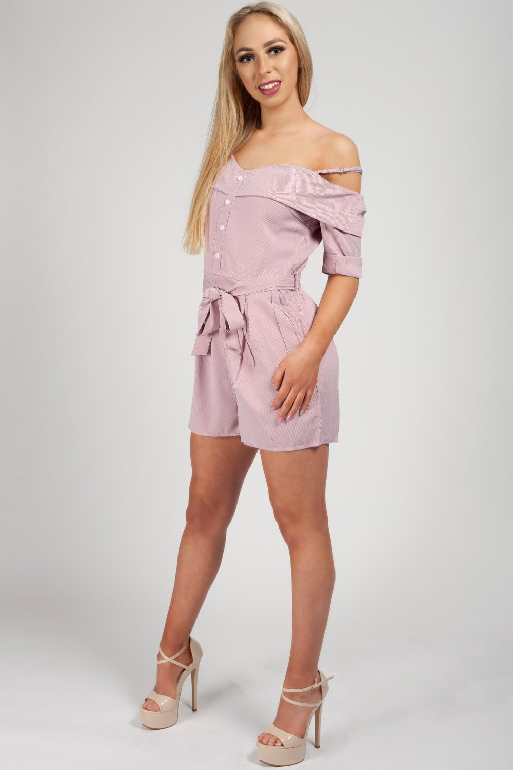 f6c134217e Womens Pink Striped Playsuit – Styledup.co.uk